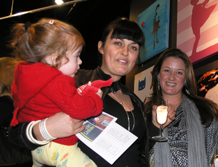Melbourne Chef, owner of Melbourne Wine Room & Mr Wolf, TV superstar and now artist, Karen Martini with daughter Amber and friend