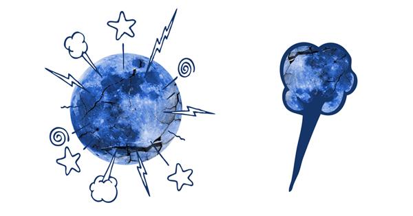 Moon-blue Cracked plus blackbeard