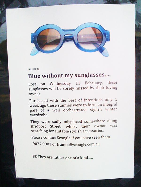 Unique urban brand experience - blue sunglasses