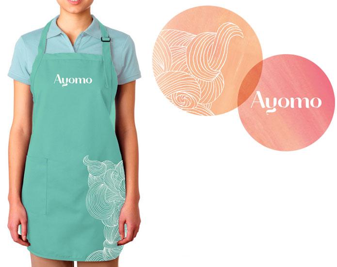 Ayomo brandmark and apron