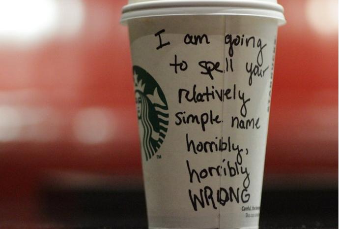 Starbucks mispelling names on cups