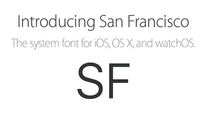 San Fransisco Apple's new brand font