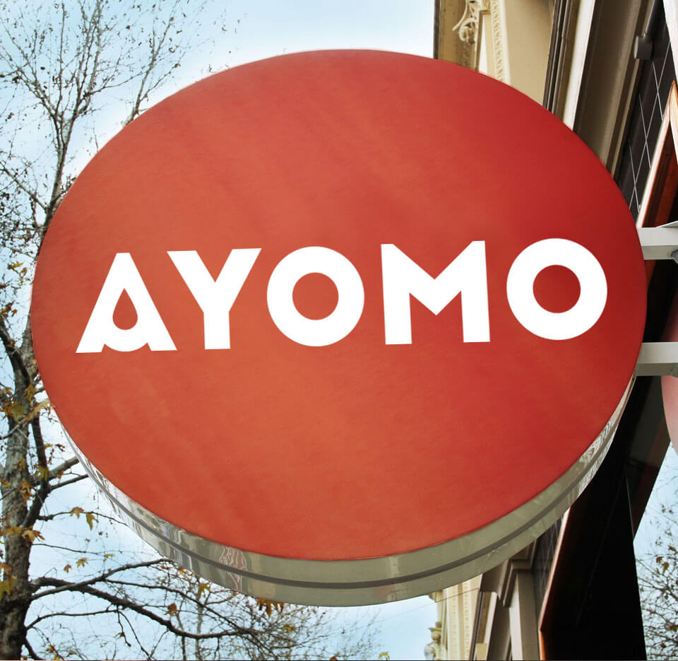 Ayomo brand identity design refresh outdoor sign