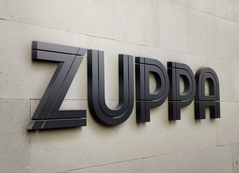 Zuppa visual identity sign wall
