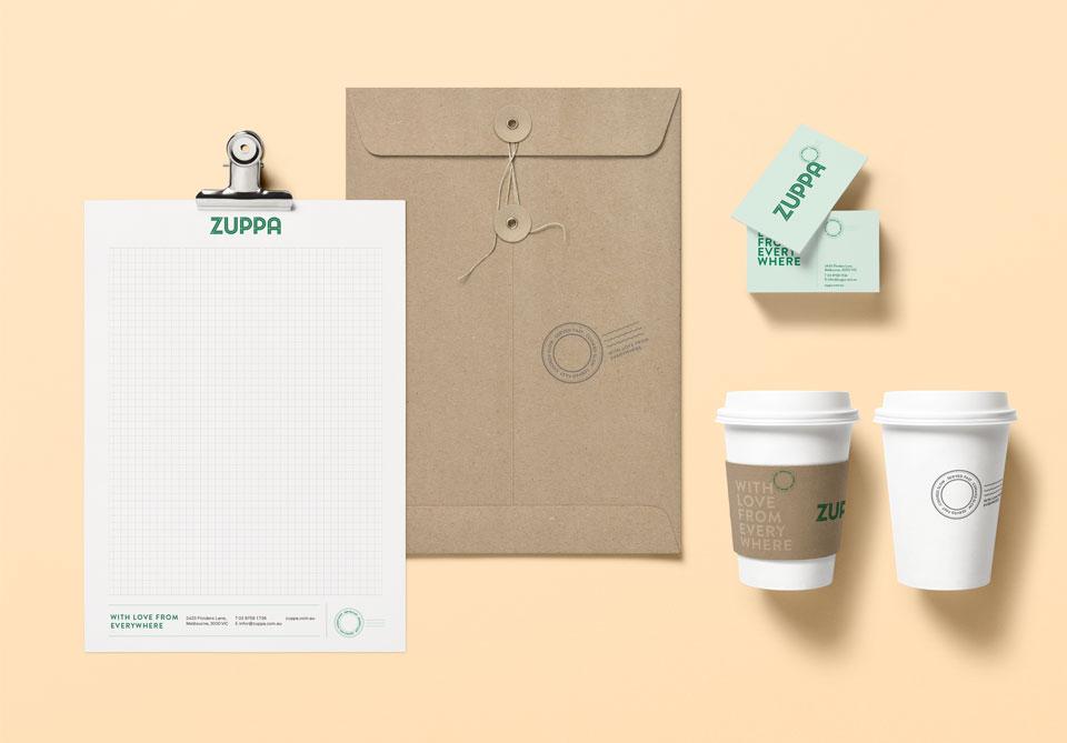 Zuppa visual identity stationery