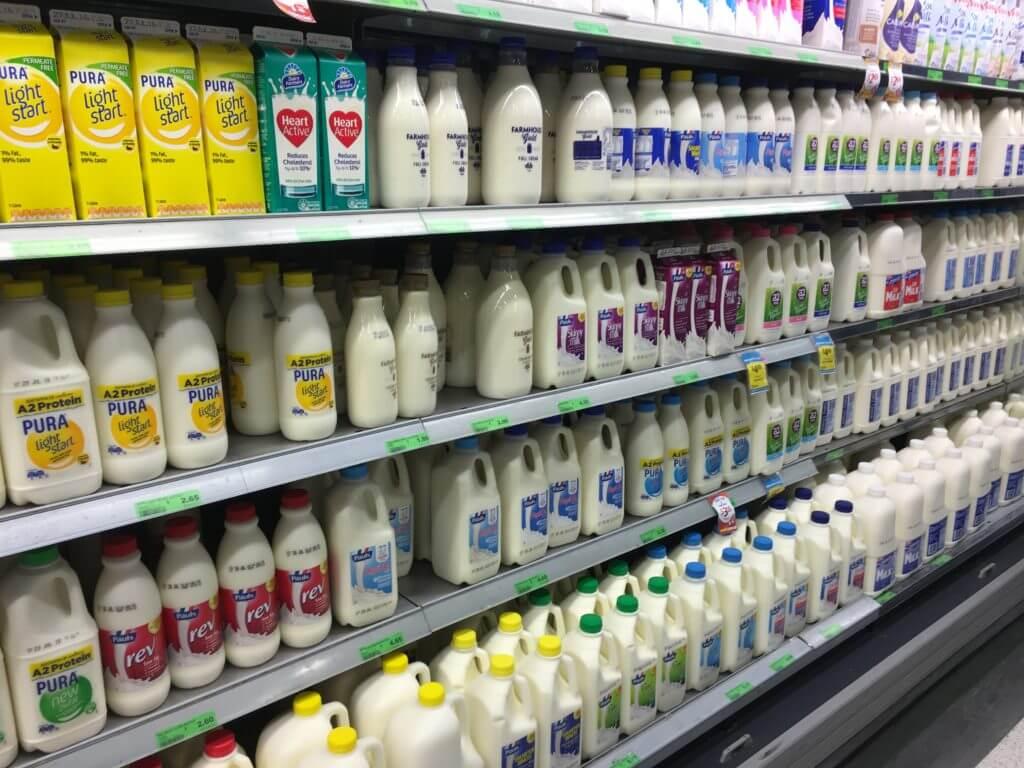 Milk brands in a supermarket