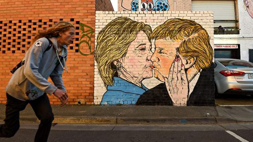 Clinton Trump mural