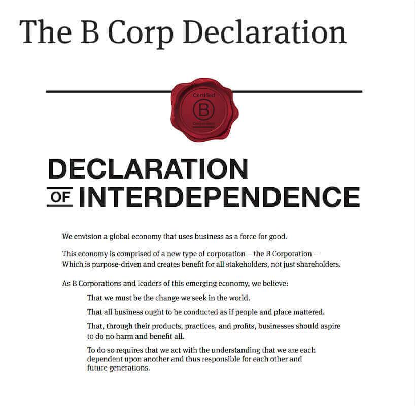bcorp delaration